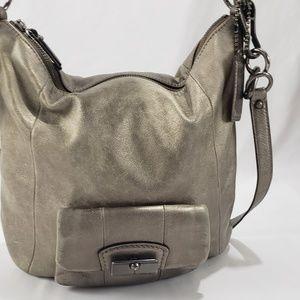 Coach Metallic Leather Distressed Crossbody Bag
